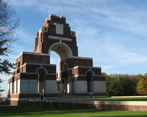 The Thiepval Memorial at Somme commemorates more than 72,000 soldiers missing in action at one of the bloodiest battlefields in history.